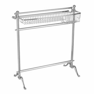 Standing Towel Rail With Bottle Basket